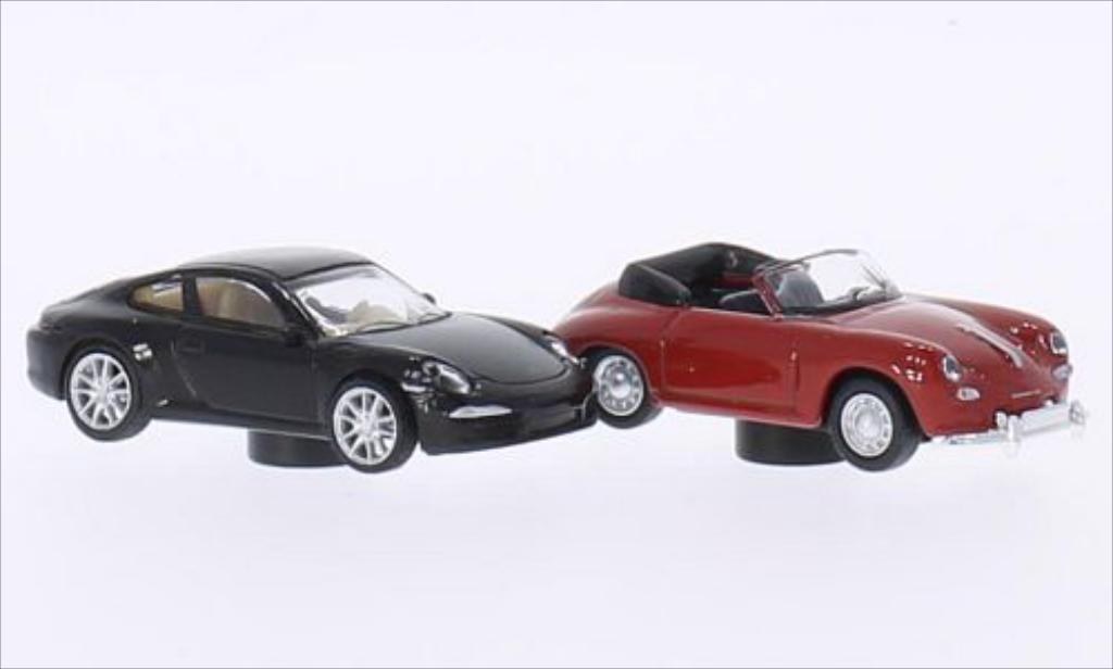 Porsche 991 1/87 Schuco marron + 356 Cabriolet rouge miniature