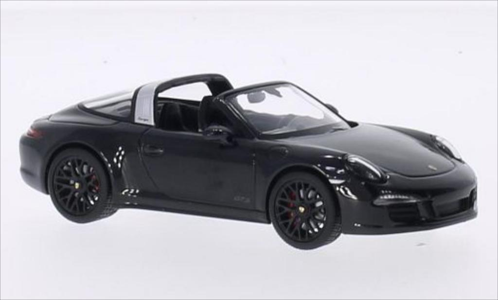 Porsche 991 Targa 1/43 Schuco 4 GTS metallise noire miniature