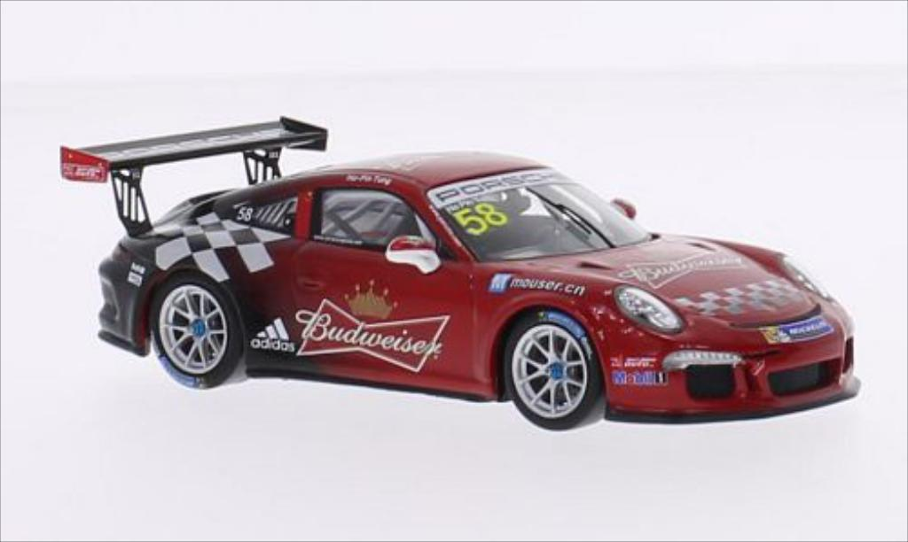Porsche 997 GT3 CUP 1/43 Spark GT3 Cup No.58 Team Absolute Racing Budweiser Carrera Cup Asia 2015 miniature
