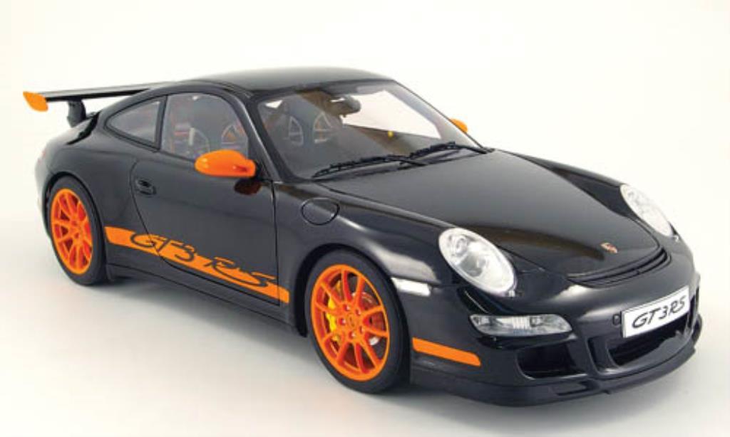 Porsche 997 GT3 1/12 Autoart noire mit orangenen Streifen miniature