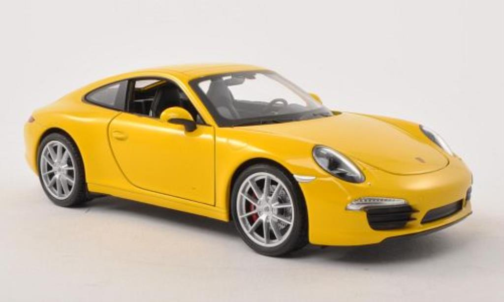 Porsche 991 S 1/24 Welly Carrera yellow diecast model cars