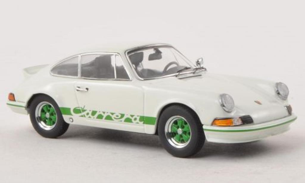Porsche 911 RS 1/43 Schuco 2.7 blanche/verte miniature