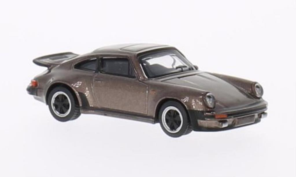 Porsche 911 Turbo 1/64 Schuco 3.0 marron miniature