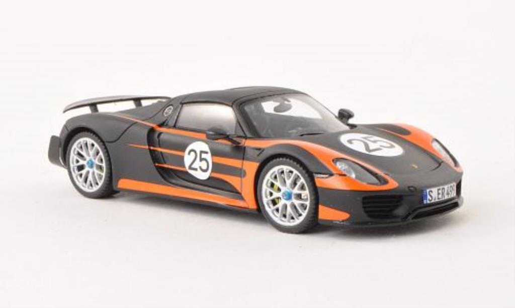 porsche 918 spyder mit weissach paket mattschwarz orange 2013 spark modellauto 1 43. Black Bedroom Furniture Sets. Home Design Ideas
