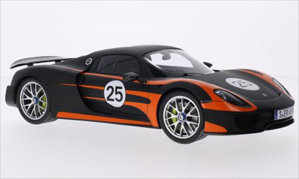 Porsche 918 1/18 Spark Spyder noire/orange miniature