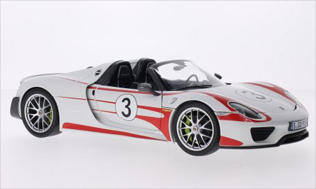 porsche 918 miniature spyder blanche dekor 2013 minichamps 1 18 voiture. Black Bedroom Furniture Sets. Home Design Ideas