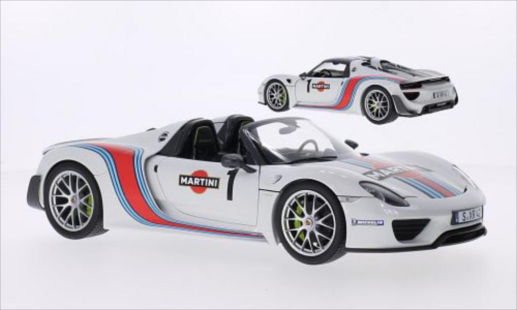 porsche 918 miniature spyder blanche dekor martini 2013 minichamps 1 18 voiture. Black Bedroom Furniture Sets. Home Design Ideas