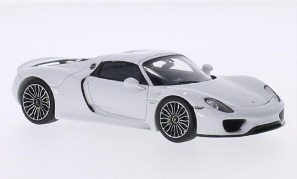 porsche 918 miniature spyder blanche spark 1 43 voiture. Black Bedroom Furniture Sets. Home Design Ideas