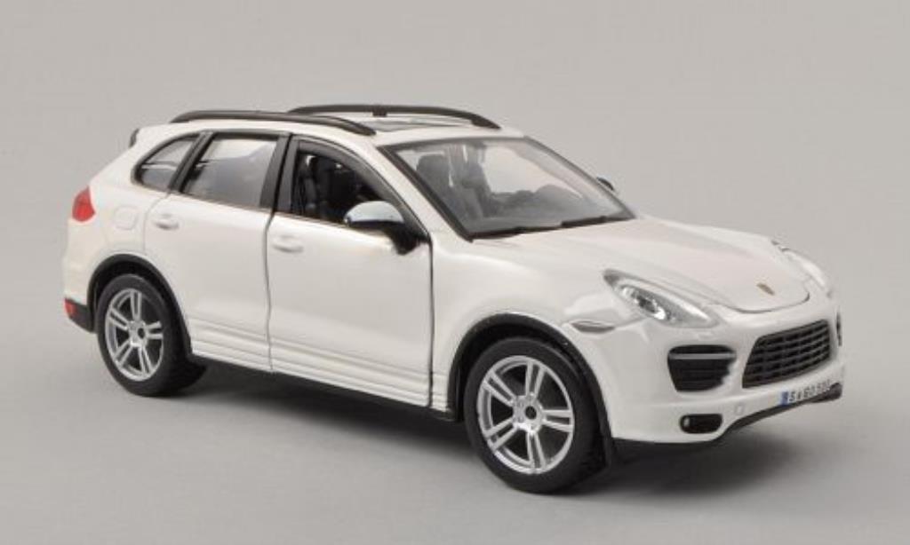 Porsche Cayenne Turbo 1/24 Burago (92A) blanco coche miniatura