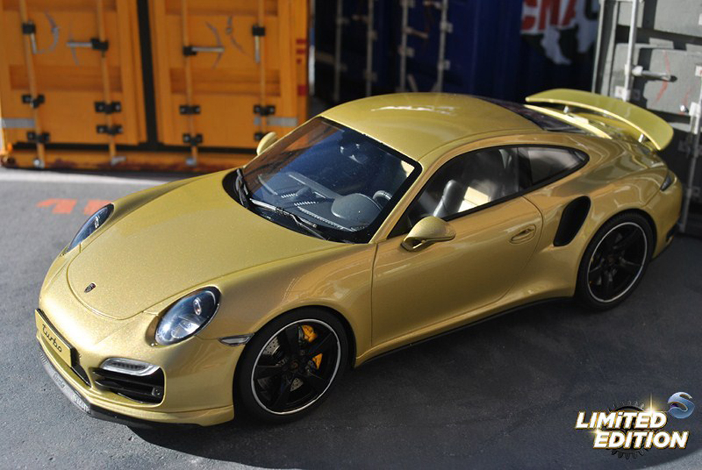 Porsche 991 Turbo 1/18 GT Spirit Exclusive champagne tuning miniature