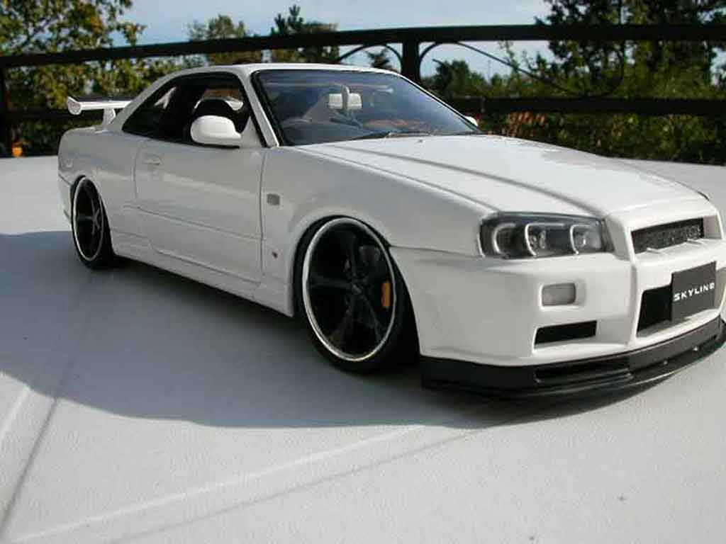 nissan skyline r34 blanche wheels techart autoart diecast. Black Bedroom Furniture Sets. Home Design Ideas