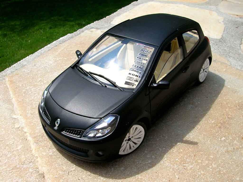 renault clio 3 rs miniature noir mat jantes c4 wrc solido 1 18 voiture. Black Bedroom Furniture Sets. Home Design Ideas