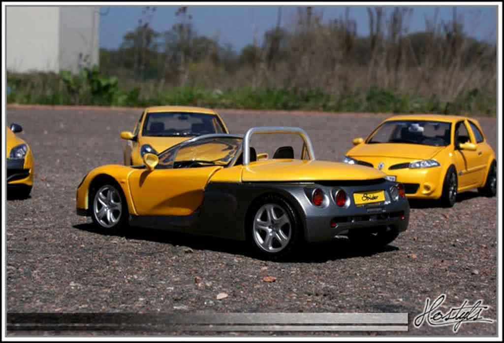 Auto miniature Renault Spider jaune sirius tuning Anson. Renault Spider jaune sirius miniature 1/18
