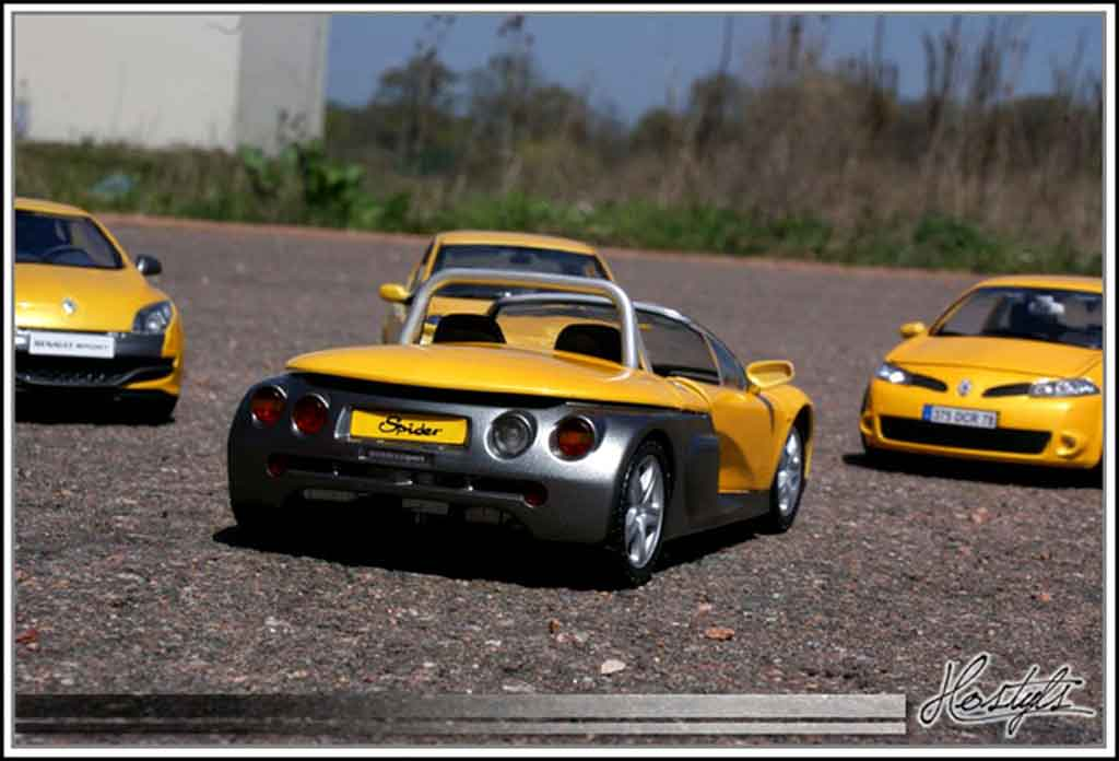 Voiture de collection Renault Spider jaune sirius tuning Anson. Renault Spider jaune sirius miniature 1/18