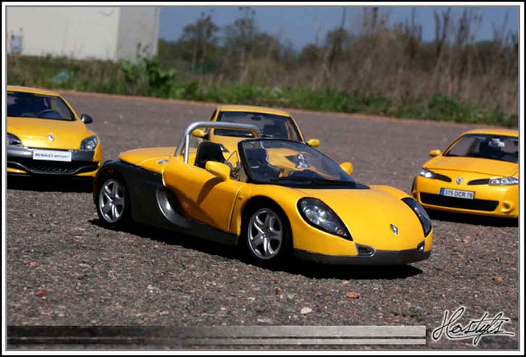 Modèle réduit Renault Spider jaune sirius tuning Anson. Renault Spider jaune sirius miniature 1/18