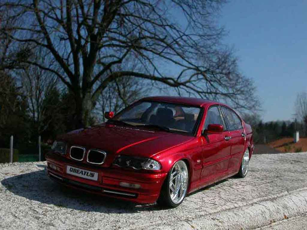 Bmw 328 E46 1/18 Welly tuning rosso candy et jantes chromes
