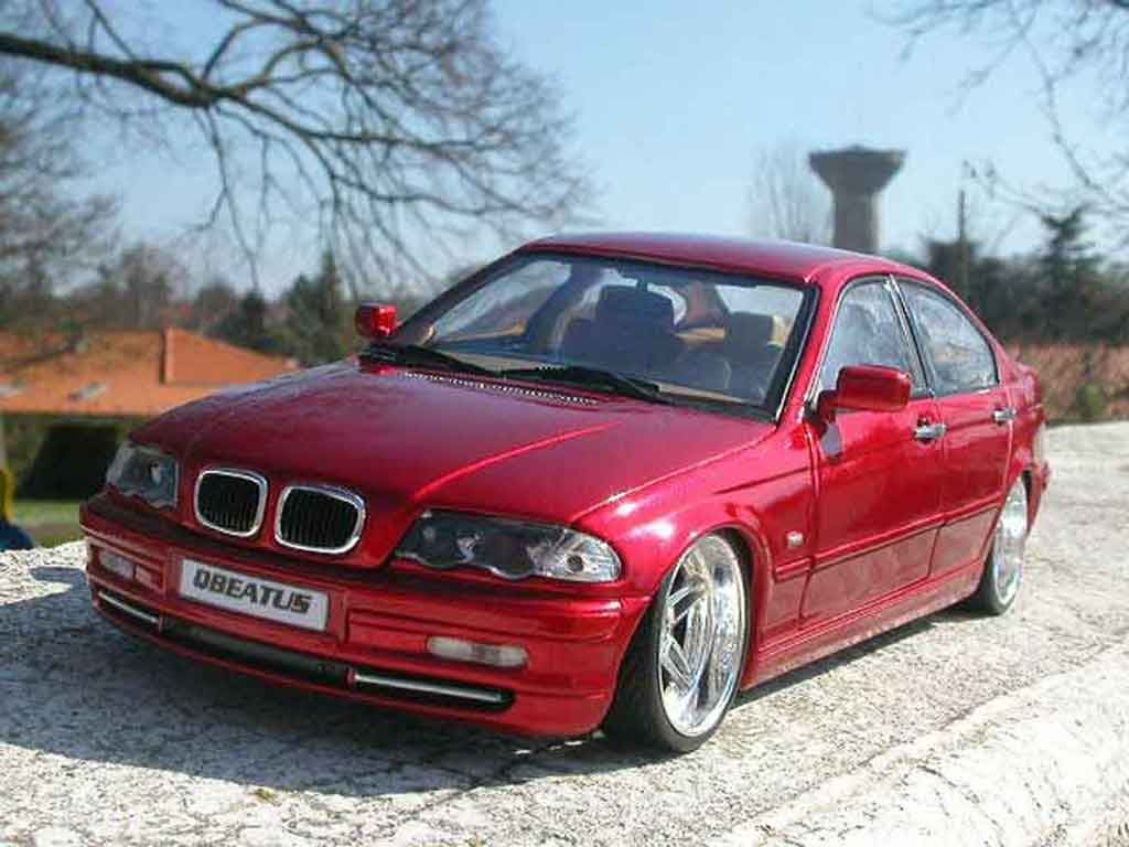 Bmw 328 E46 1/18 Welly tuning rouge candy et jantes chromes tuning miniature