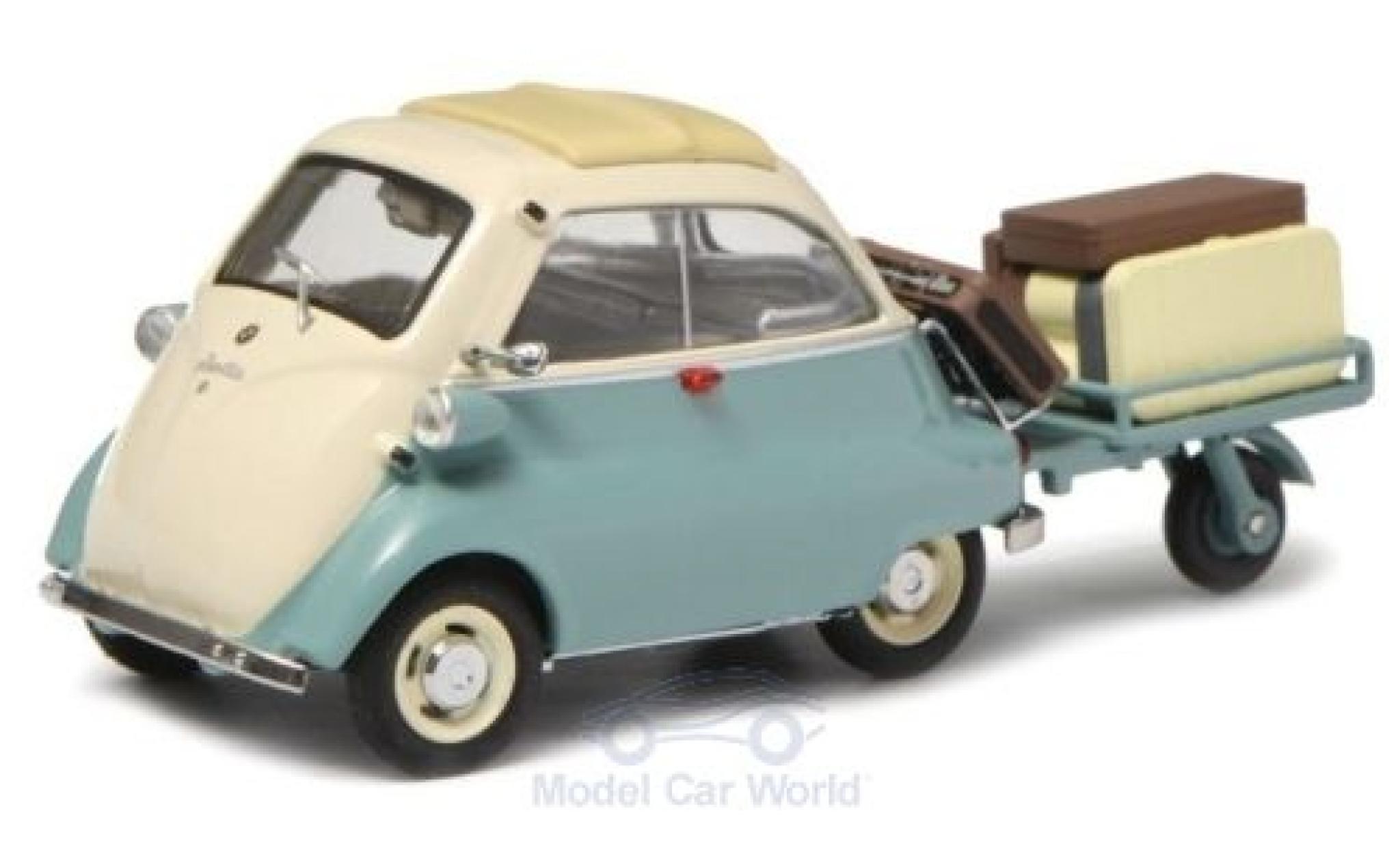 Bmw Isetta 1/43 Schuco turquoise/beige mit Anhänger und Gepäck