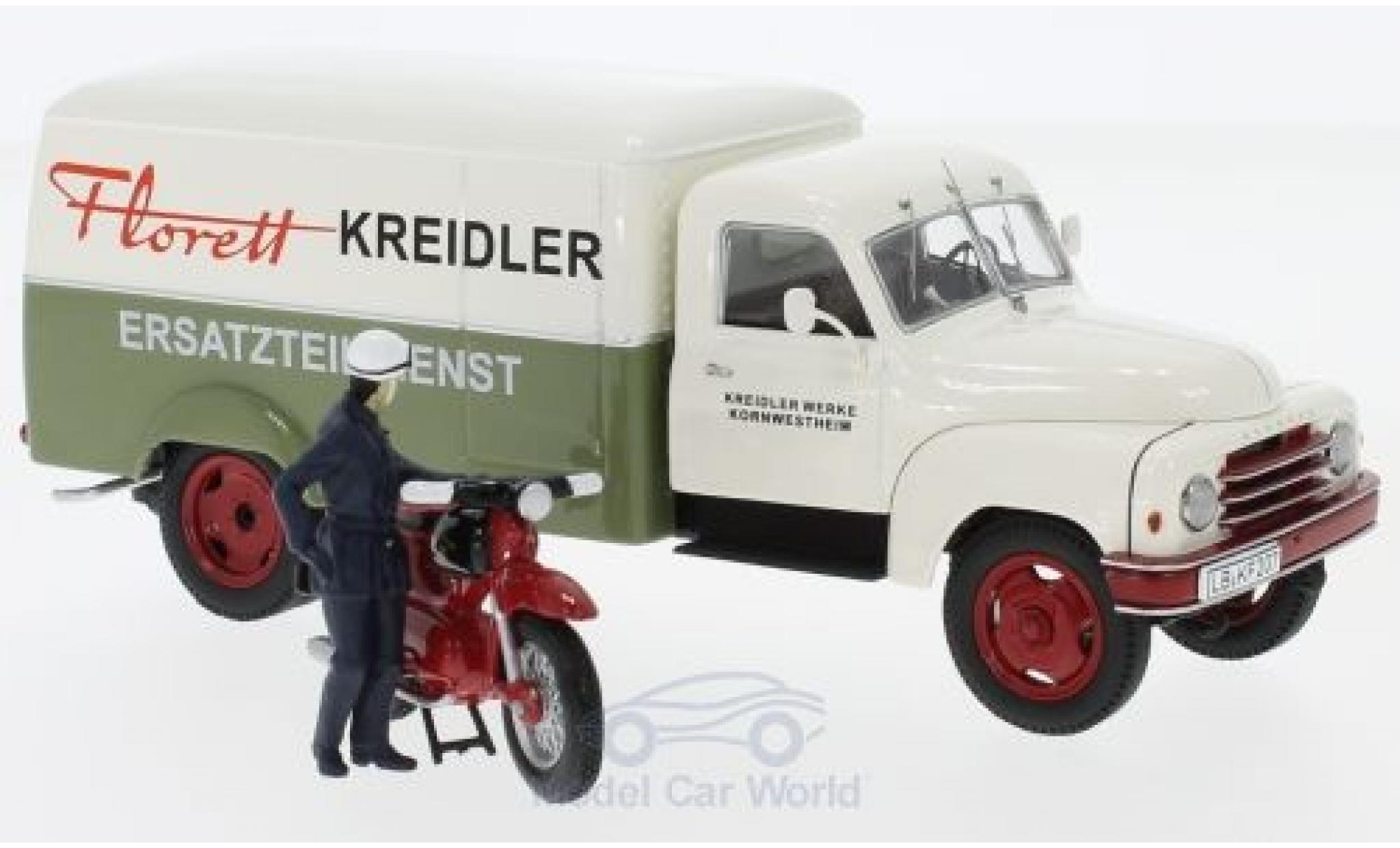 Hanomag L28 1/43 Schuco Kreidler Ersatzteildienst mit Kreidler Florett und Fahrerfigur