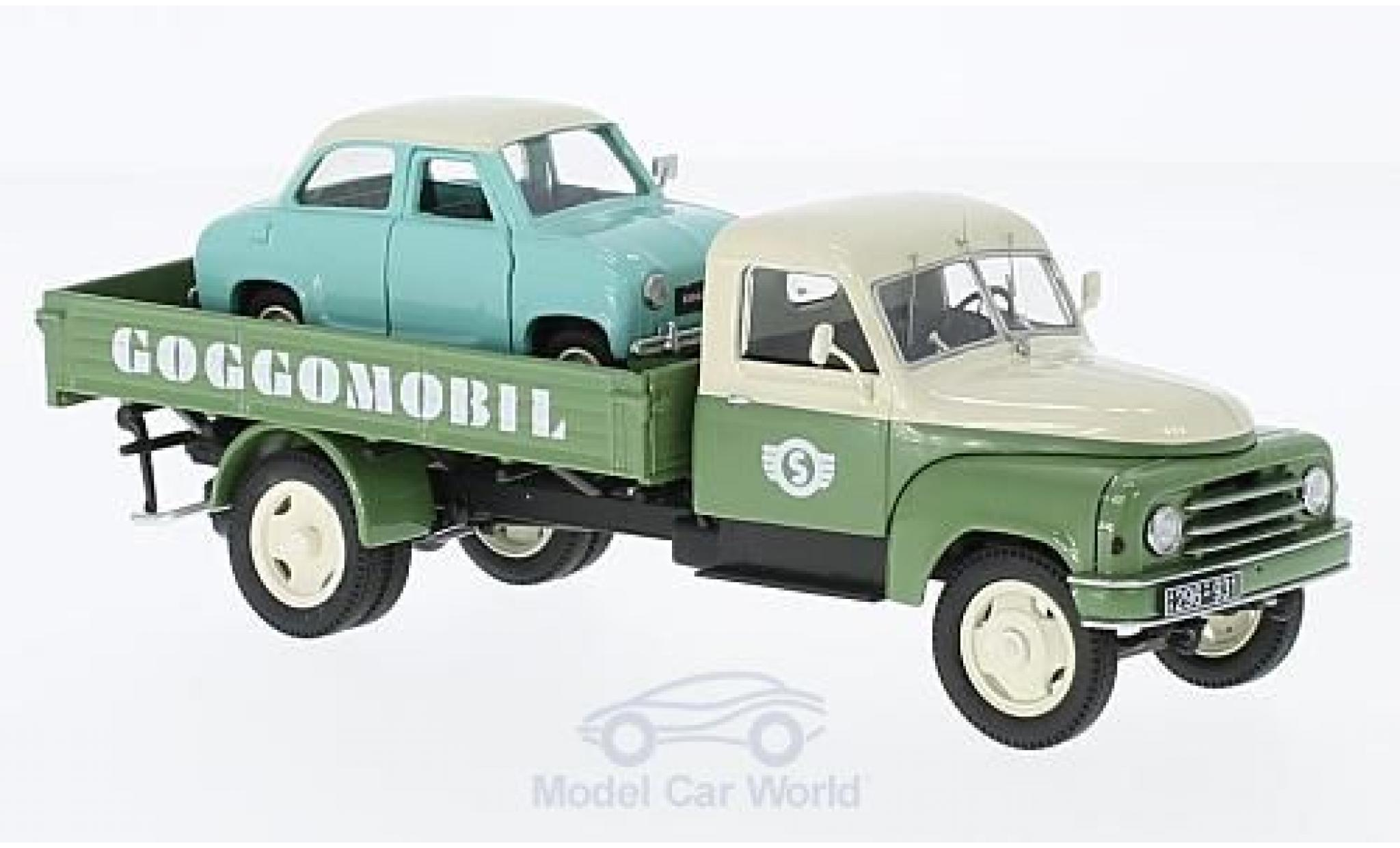 Hanomag L28 1/43 Schuco Pritsche Goggomobile Service mit Goggomobile