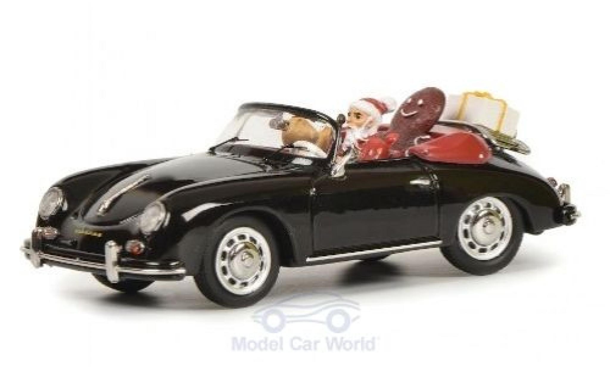 Porsche 356 1/43 Schuco A Cabriolet noire Weihnachten 2019 mit Figuren und Ladung