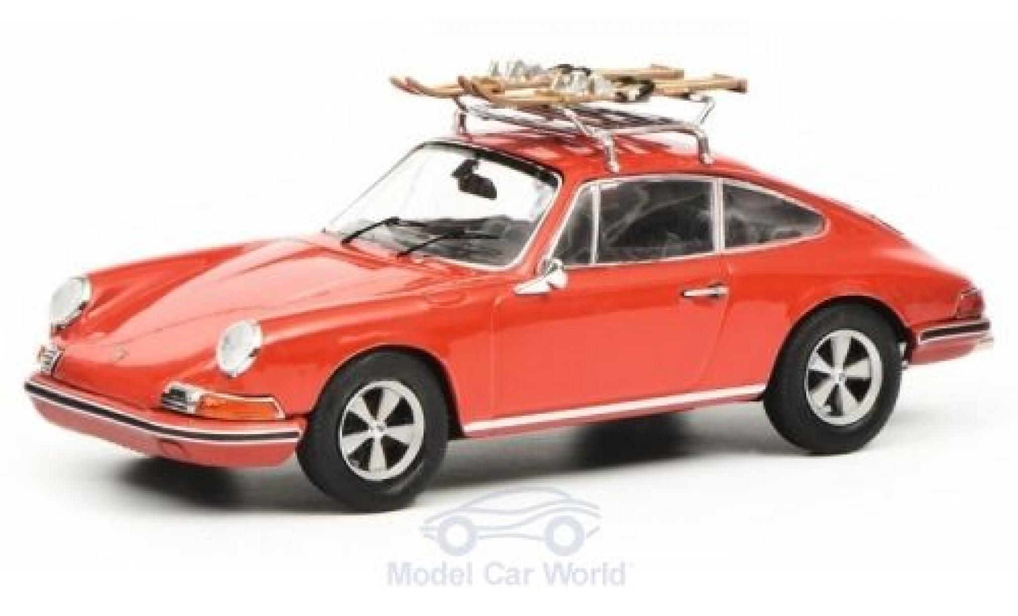 Porsche 911 1/43 Schuco S rot mit Skiträger