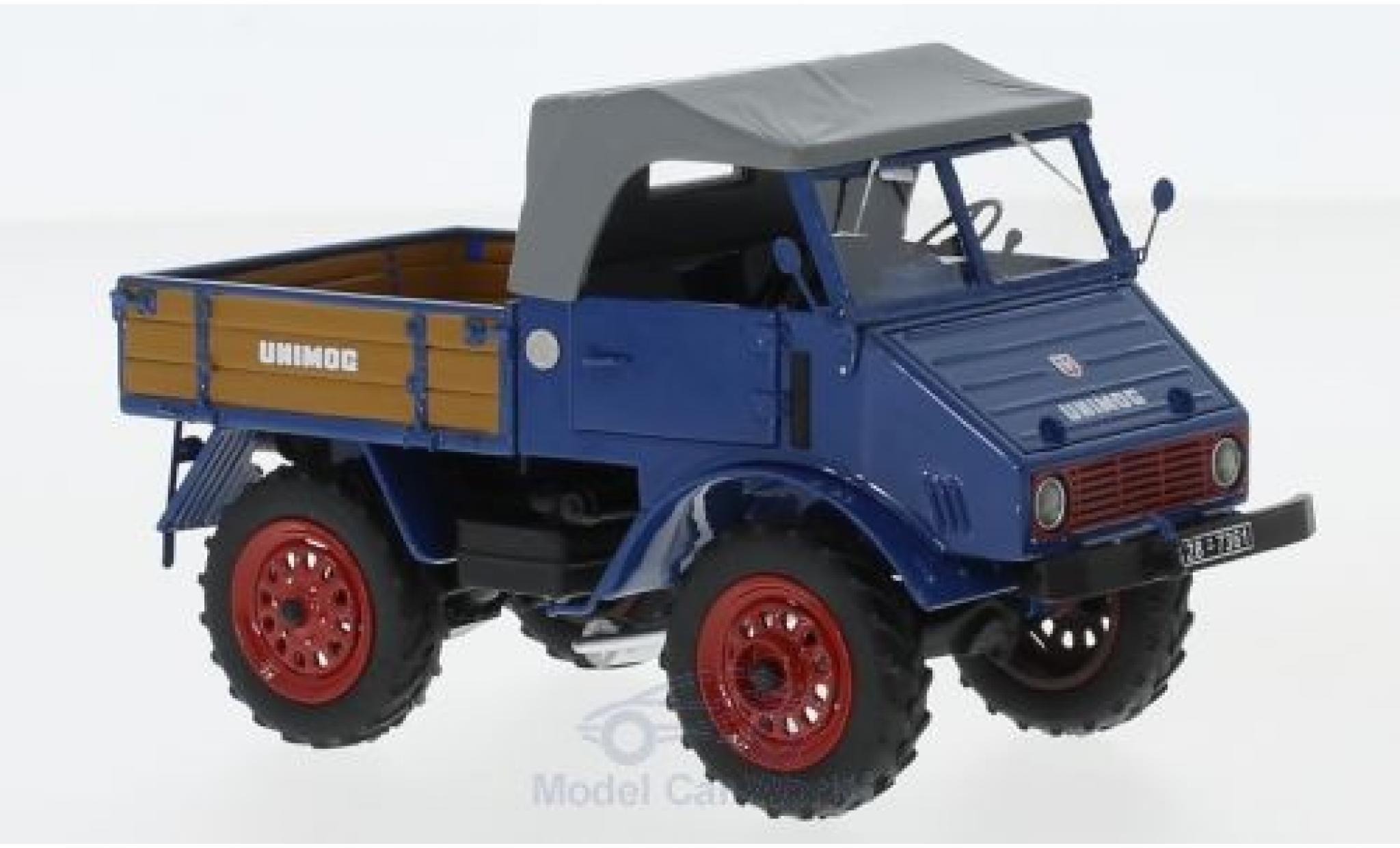 Mercedes Unimog 1/32 Schuco ProR U401 bleue mit Holzpritsche