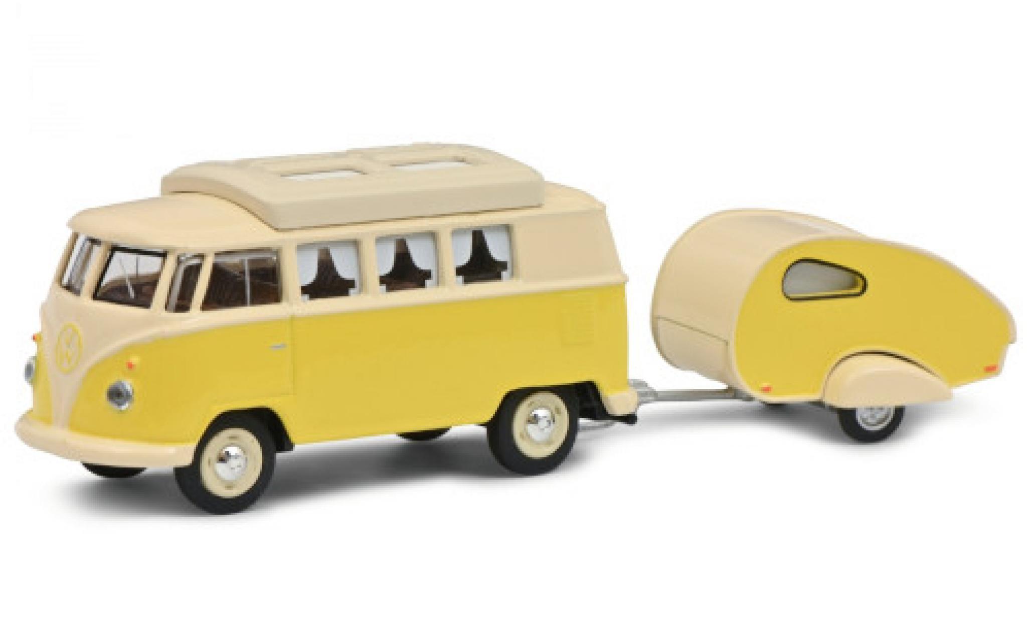 Volkswagen T1 1/64 Schuco Camper yellow/beige avec caravane
