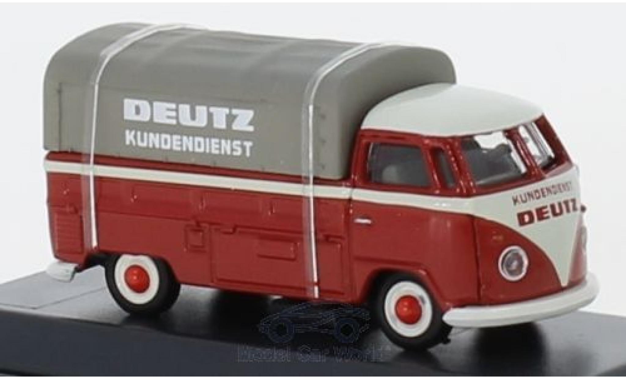 Volkswagen T1 1/87 Schuco b Pritsche Deutz Kundendienst mit Plane