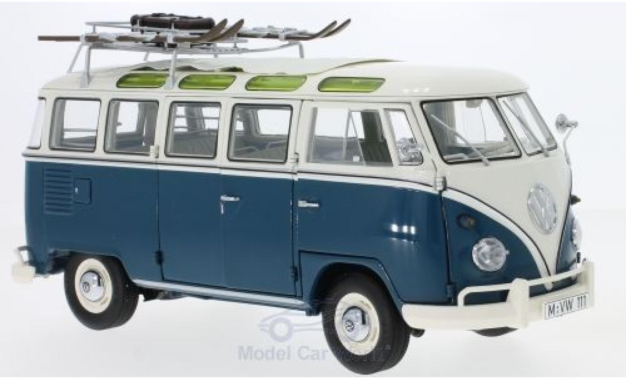 Volkswagen T1 B 1/18 Schuco b Samba us bleue/beige Wintersport Wintersport mit Dachgepäckträger