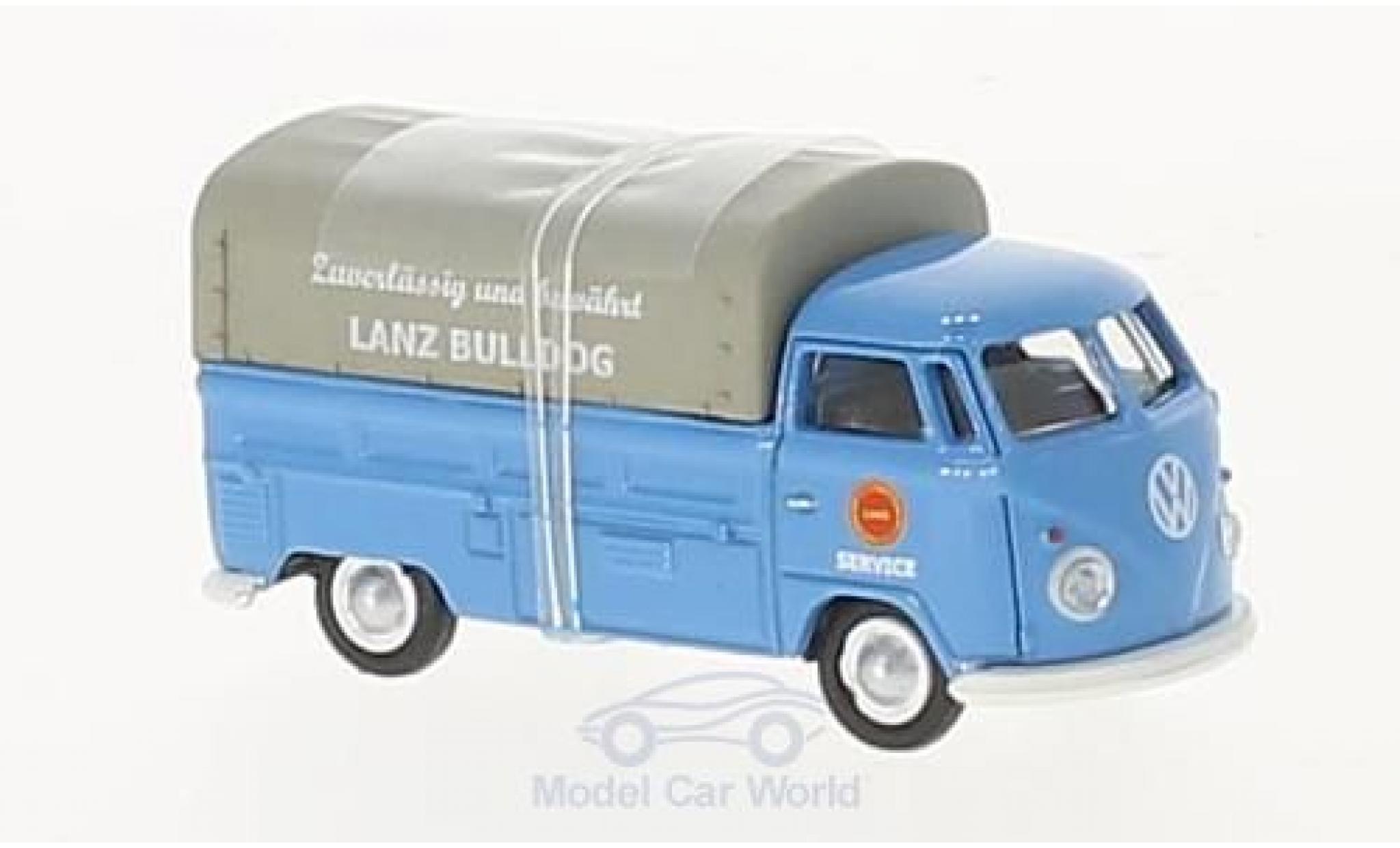 Volkswagen T1 B 1/87 Schuco c bleue Lanz Bulldog Pritsche mit Plane