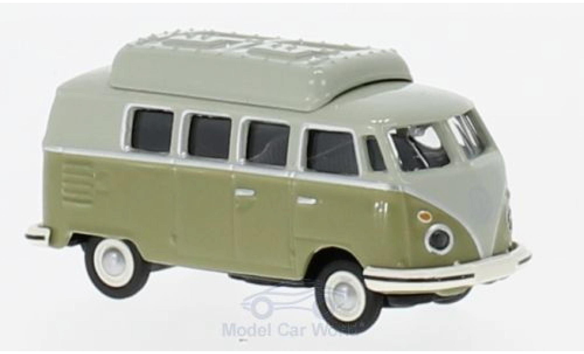Volkswagen T1 A 1/87 Schuco c Camper verte/grise