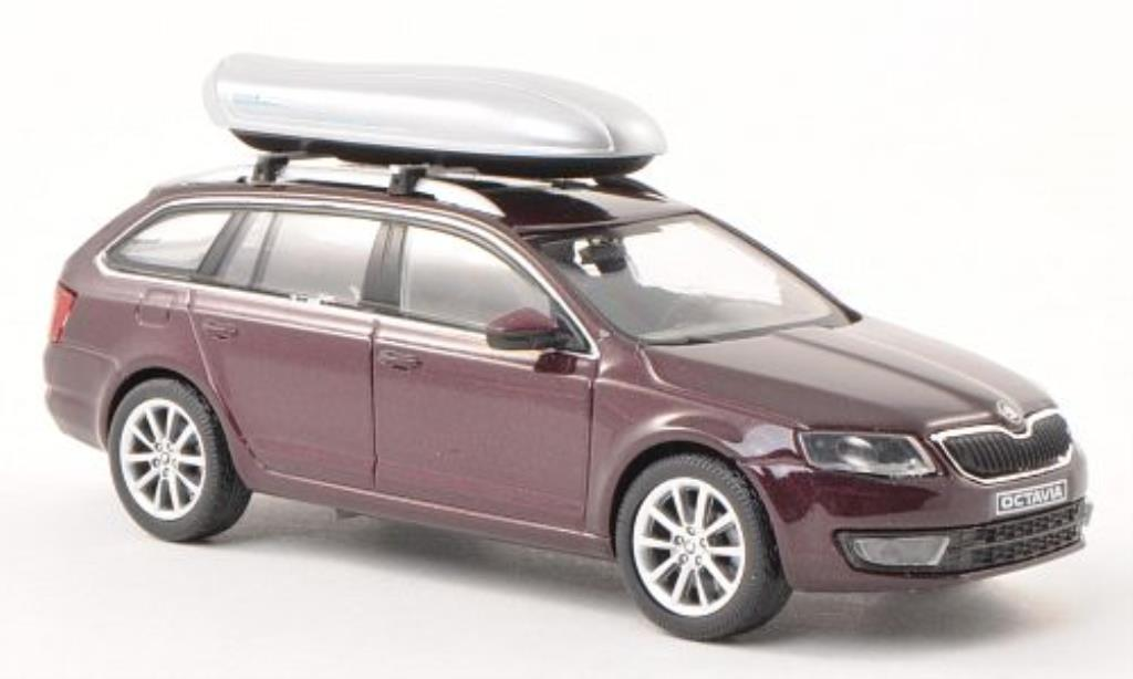 skoda octavia miniature iii combi rouge mit dachbox abrex 1 43 voiture. Black Bedroom Furniture Sets. Home Design Ideas