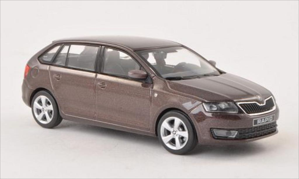 Skoda Rapid 1/43 Abrex Spaceback metallise marron 2013 miniature