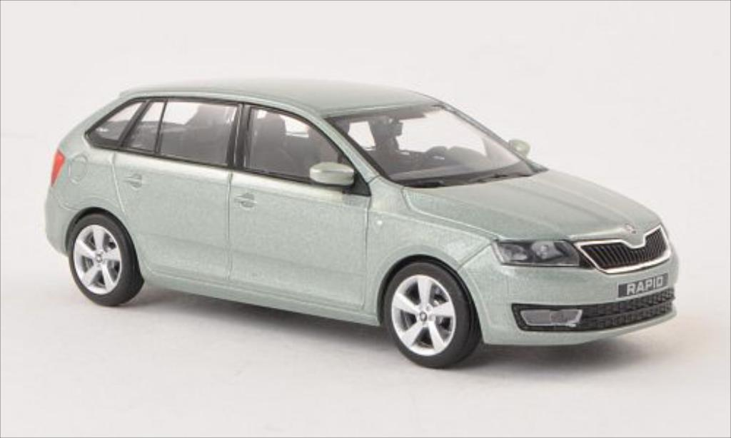 Skoda Rapid 1/43 Abrex Spaceback metallise grun 2013 miniature