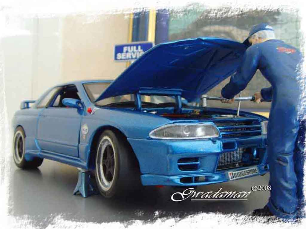 Nissan Skyline R32 1/18 Autoart drag run tuning diecast model cars