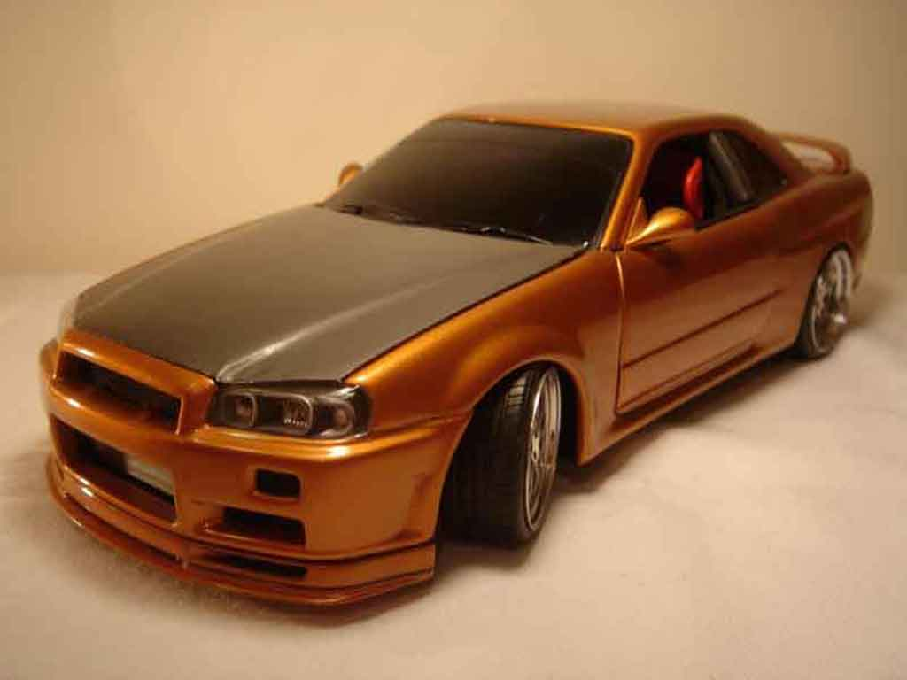 Nissan Skyline R34 1/18 Autoart orange carbon kit nos tuning diecast model cars