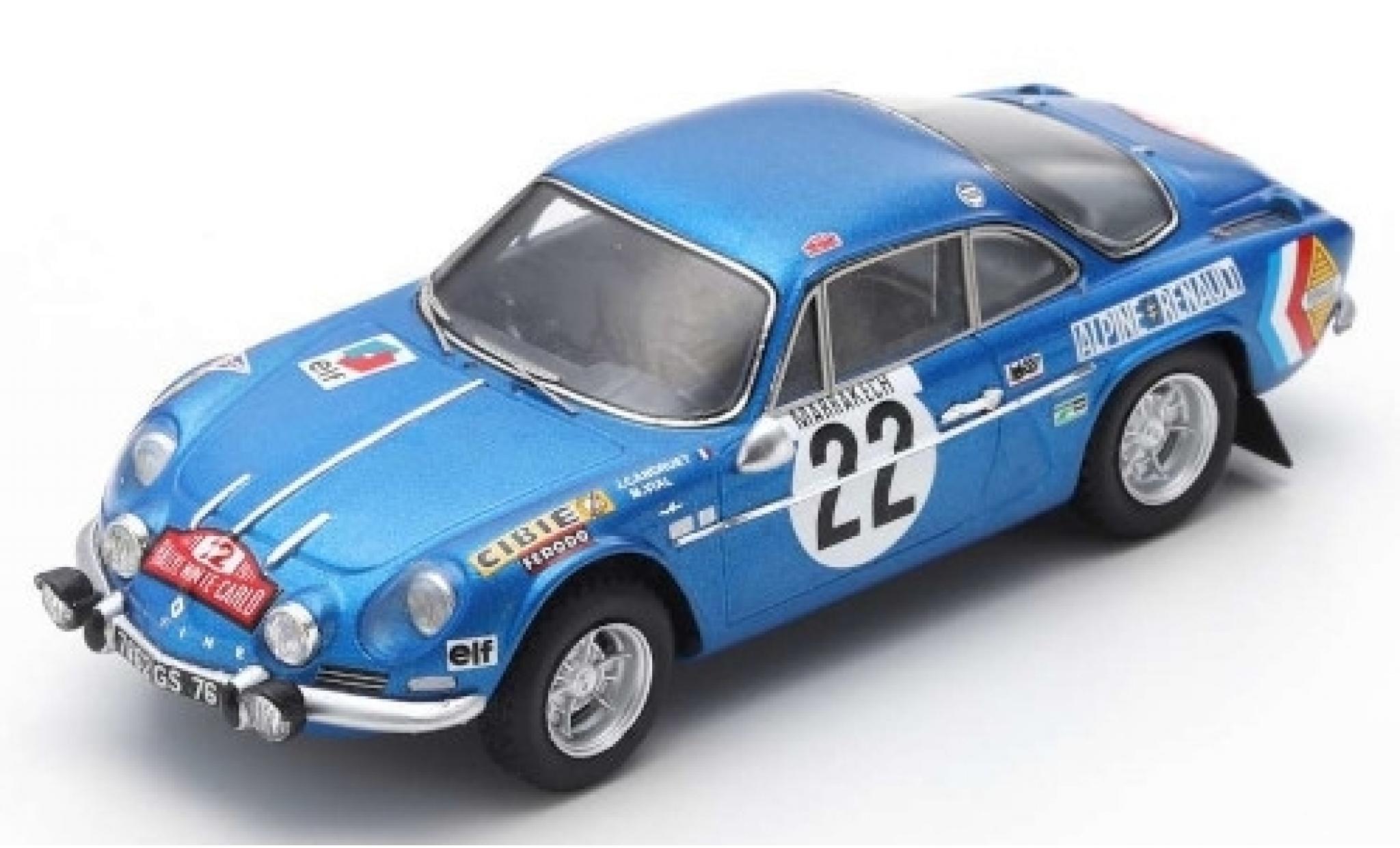 Alpine A110 1/43 Spark Renault No.22 Rally Monte Carlo 1971 J-C.Andruet/M.Vial