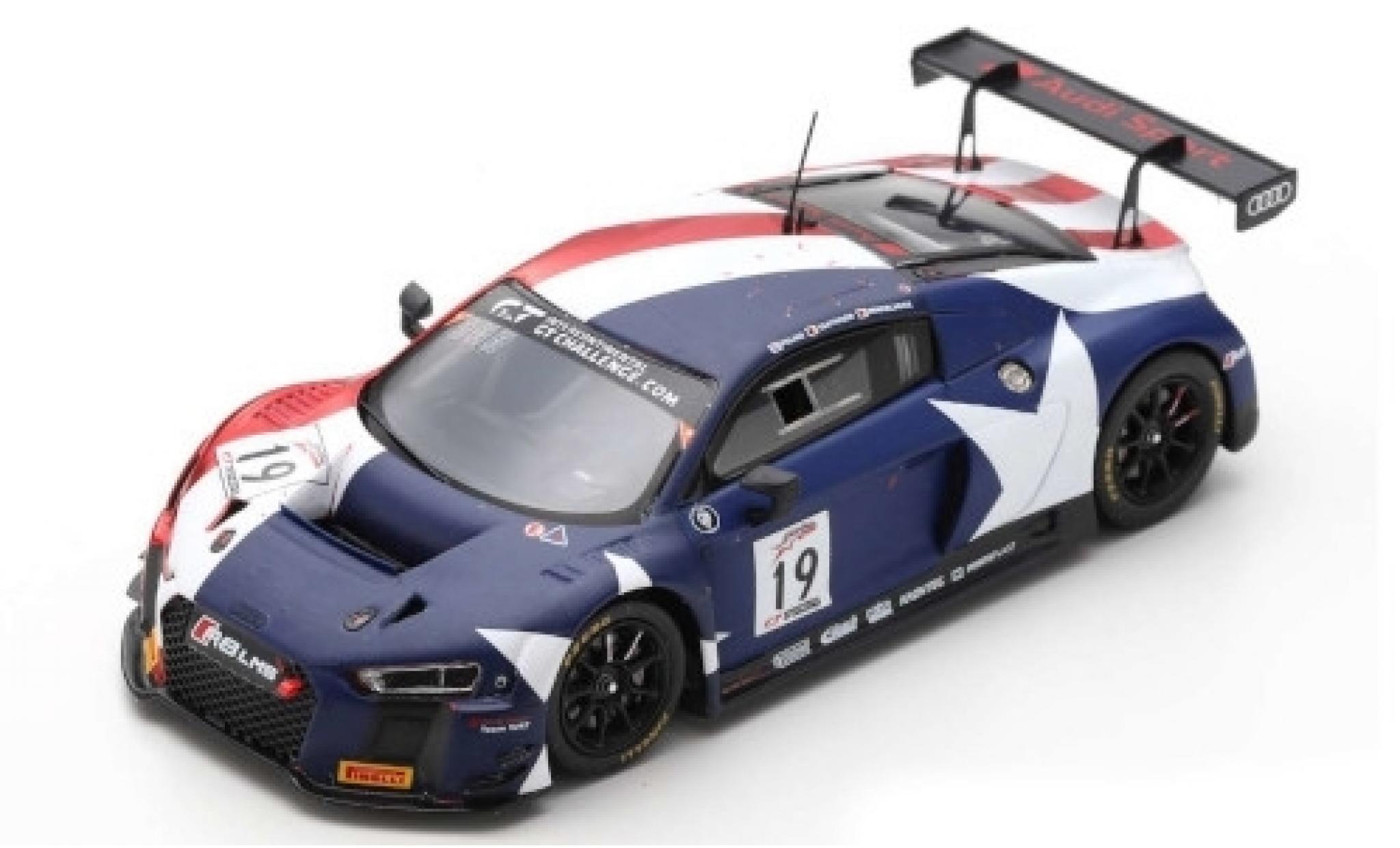 Audi R8 1/43 Spark LMS No.19 Sport Team WRT Intercontinental GT Challenge 8h Kalifornien 2018 R.Frijns/D.Vanthoor/M.Winkelhock