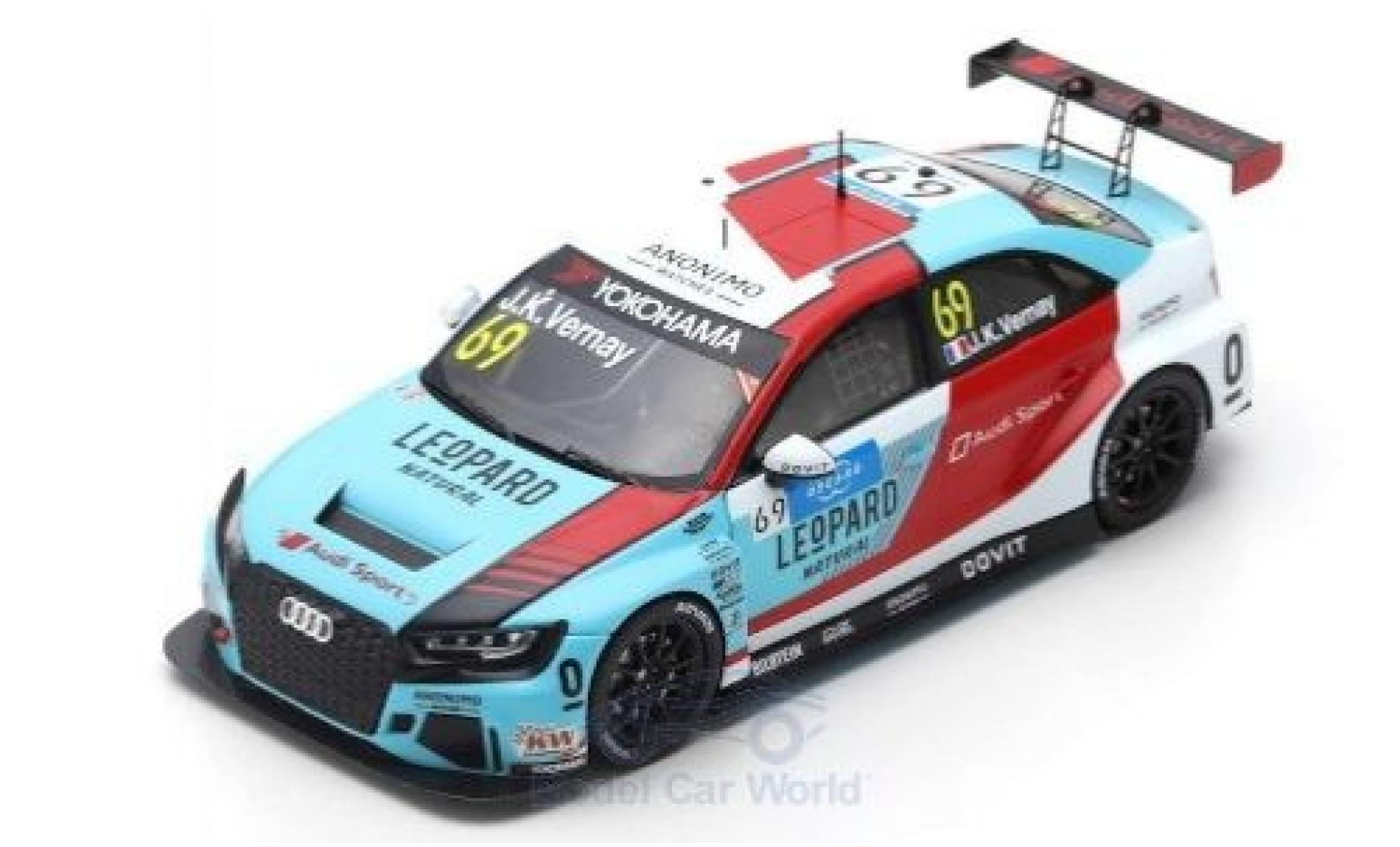 Audi RS3 1/43 Spark LMS No.52 Leopard Racing Team Sport WTCR Marrakesh 2019 G.Shedden