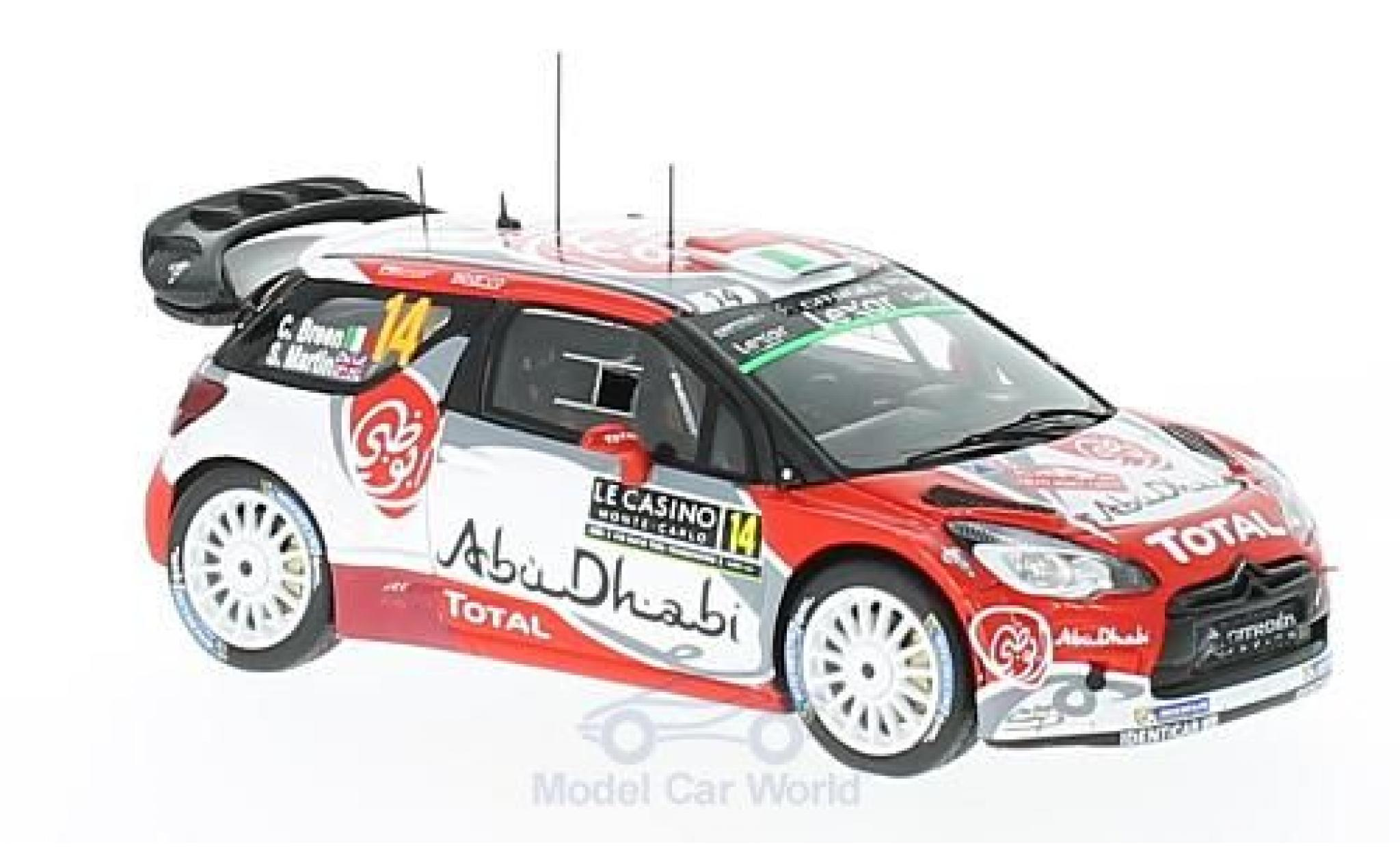 DS Automobiles DS3 1/43 Spark Citroen WRC No.14 Citroen Total Abu Dhabi WRT WRC Rallye Monte Carlo 2017 C.Breen/S.Martin