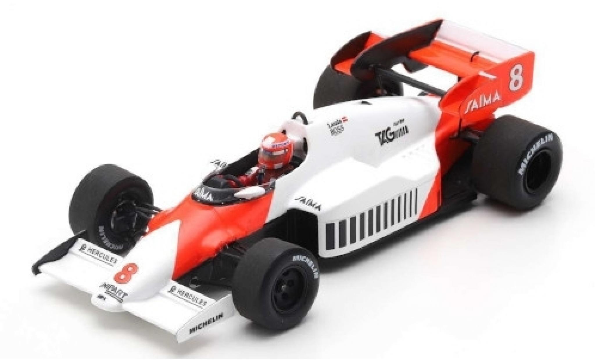McLaren MP4-12C 1/43 Spark MP4-2 No.8 Marlboro Formel 1 GP Großbritannien 1984 avec Decals N.Lauda