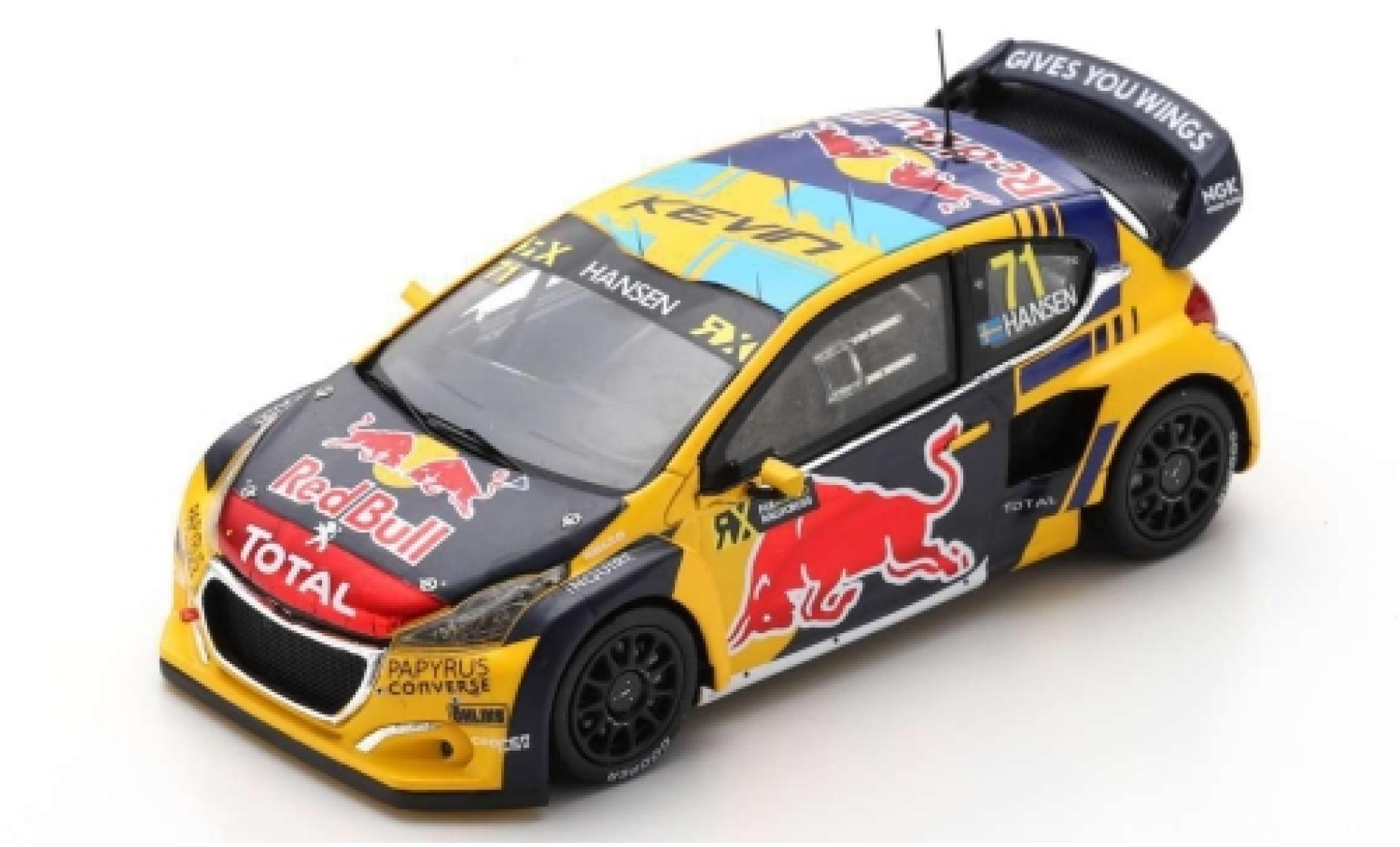 Peugeot 208 1/43 Spark WRX No.71 Red Bull -Total World RX Vereinigte Arabische Emirate 2019 K.Hansen