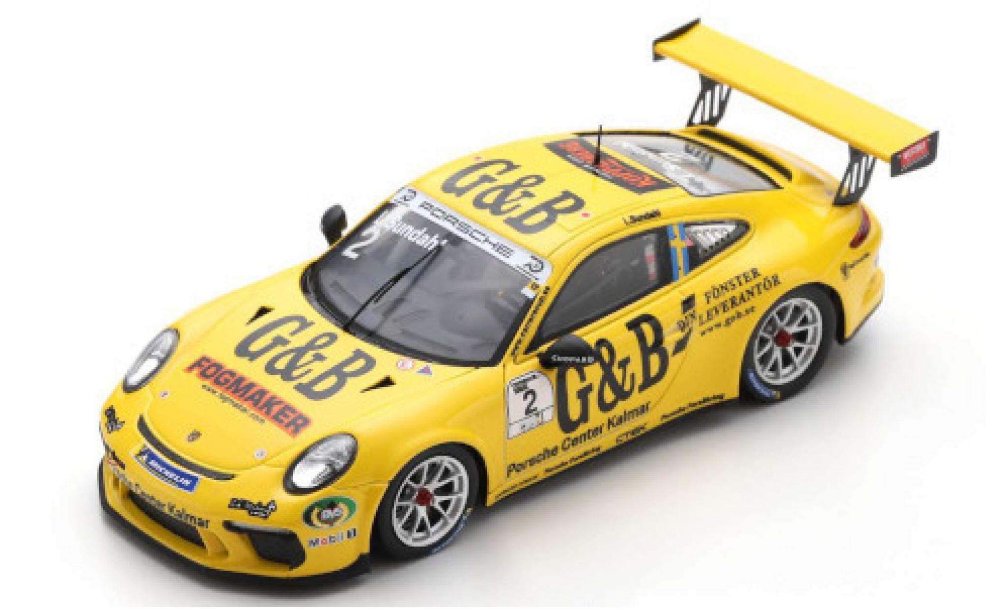 Porsche 991 GT3 Cup 1/43 Spark 911  No.2 Carrera Cup Scandinavia 2018 L.Sundahl