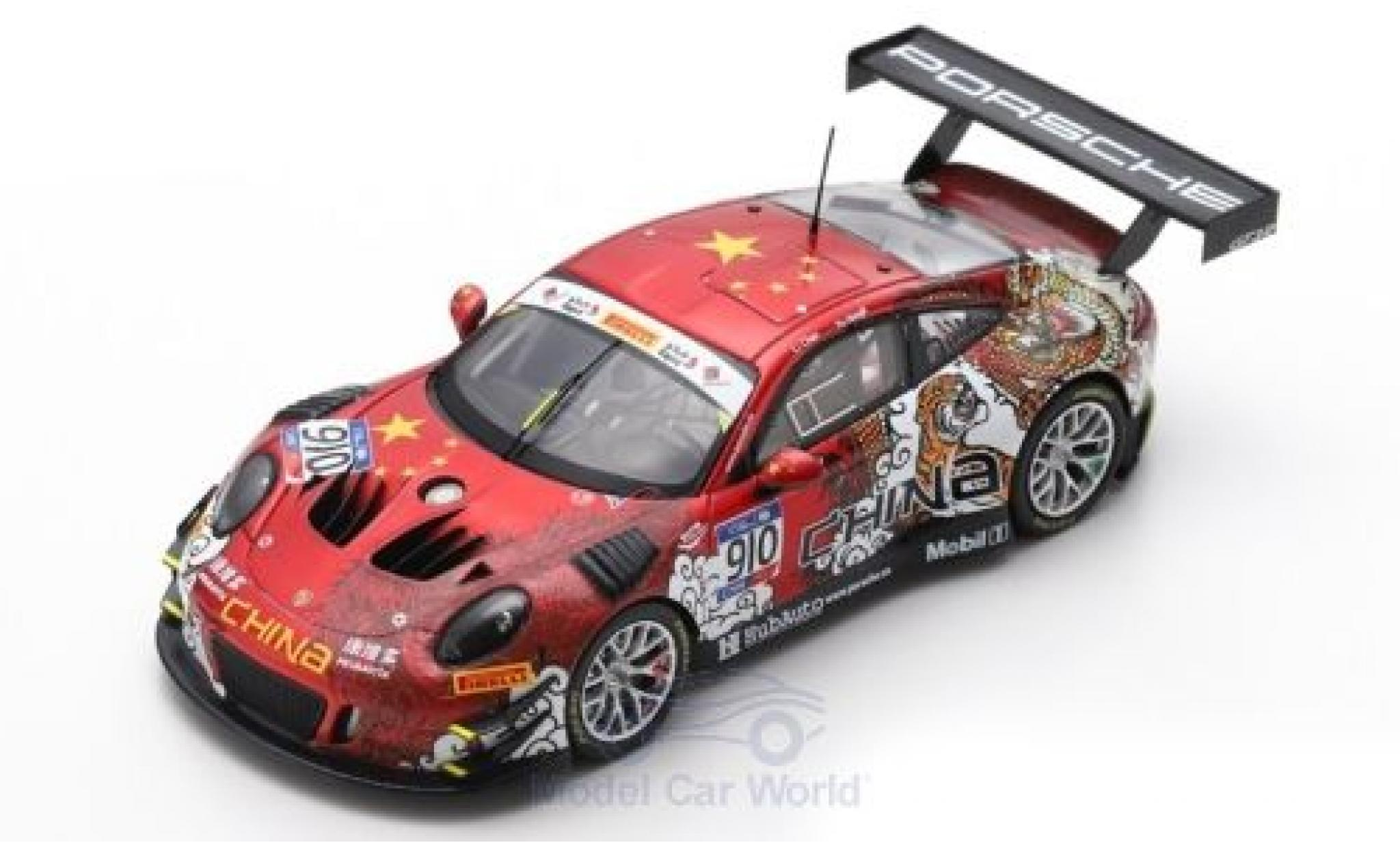 Porsche 991 GT3 R 1/43 Spark 911  No.910 Herberth Motorsport FIA GT Nations Cup Bahrain 2018 Team China L.Chao/Y.Hongli