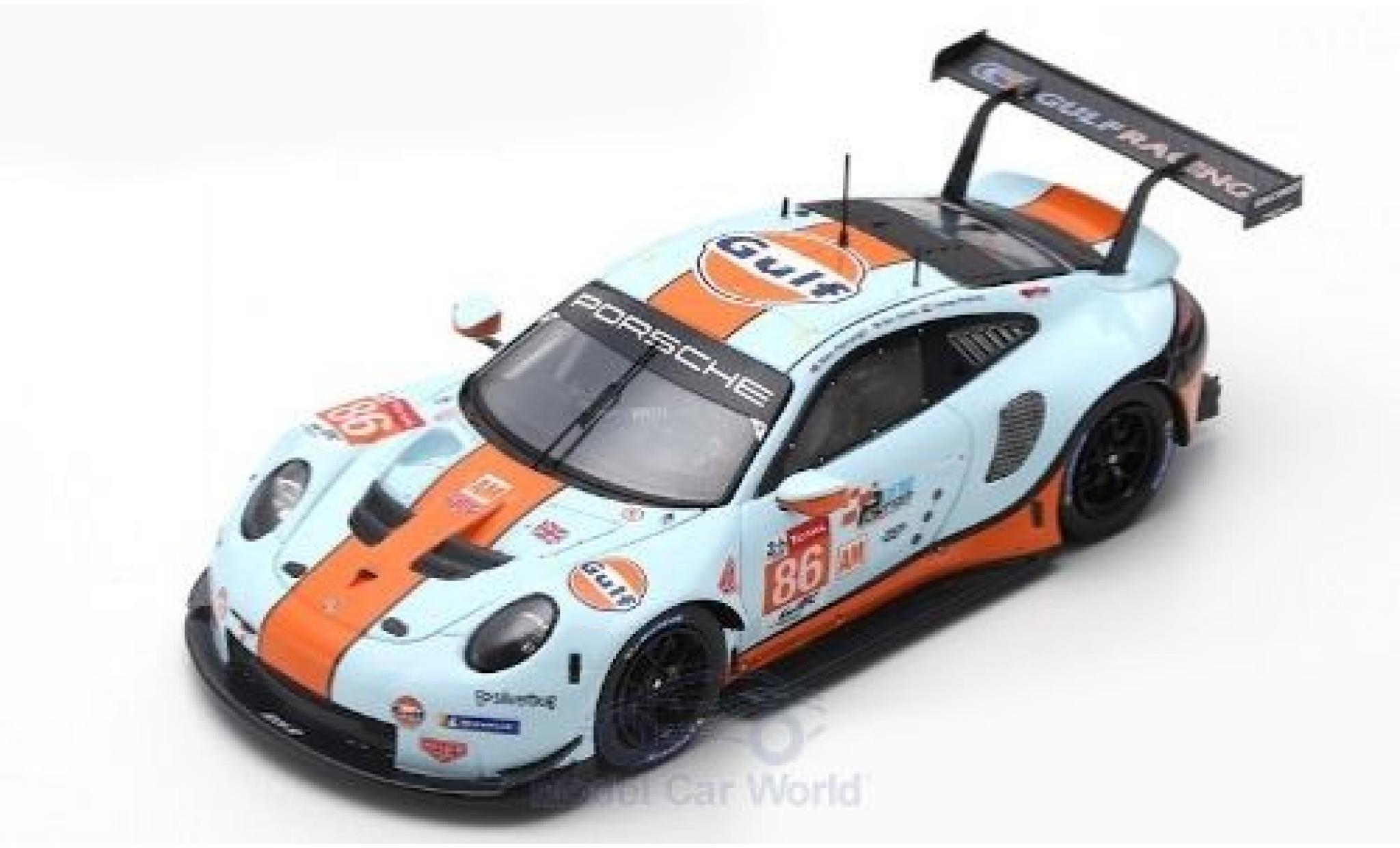 Porsche 992 RSR 1/43 Spark 911 (991) No.86 Gulf Racing Gulf 24h Le Mans 2019 M.Wainwright/B.Barker/T.Preining