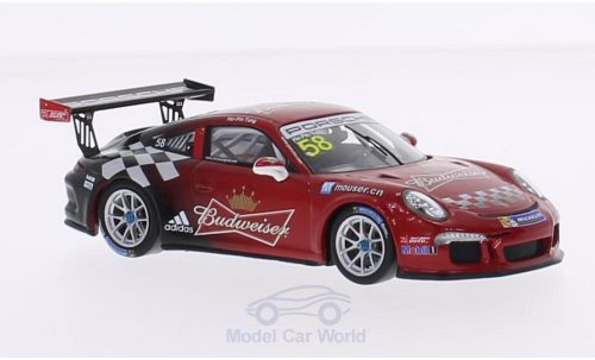 Porsche 991 GT3 Cup 1/43 Spark 911 (997) No.58 Team Absolute Racing Budweiser Carrera Cup Asia 2015 H.-P.Tung