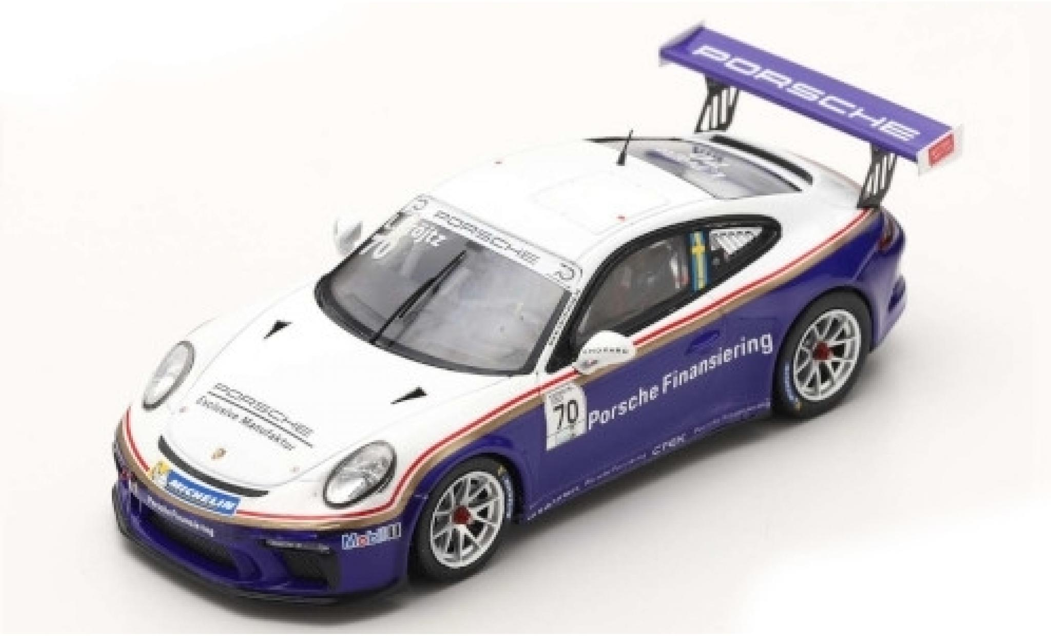 Porsche 991 GT3 Cup 1/43 Spark 911 (997 II) No.70 Carrera Cup Scandinavia Gellerasen Arena 2018 70th Anniversaire S.Blomqvist