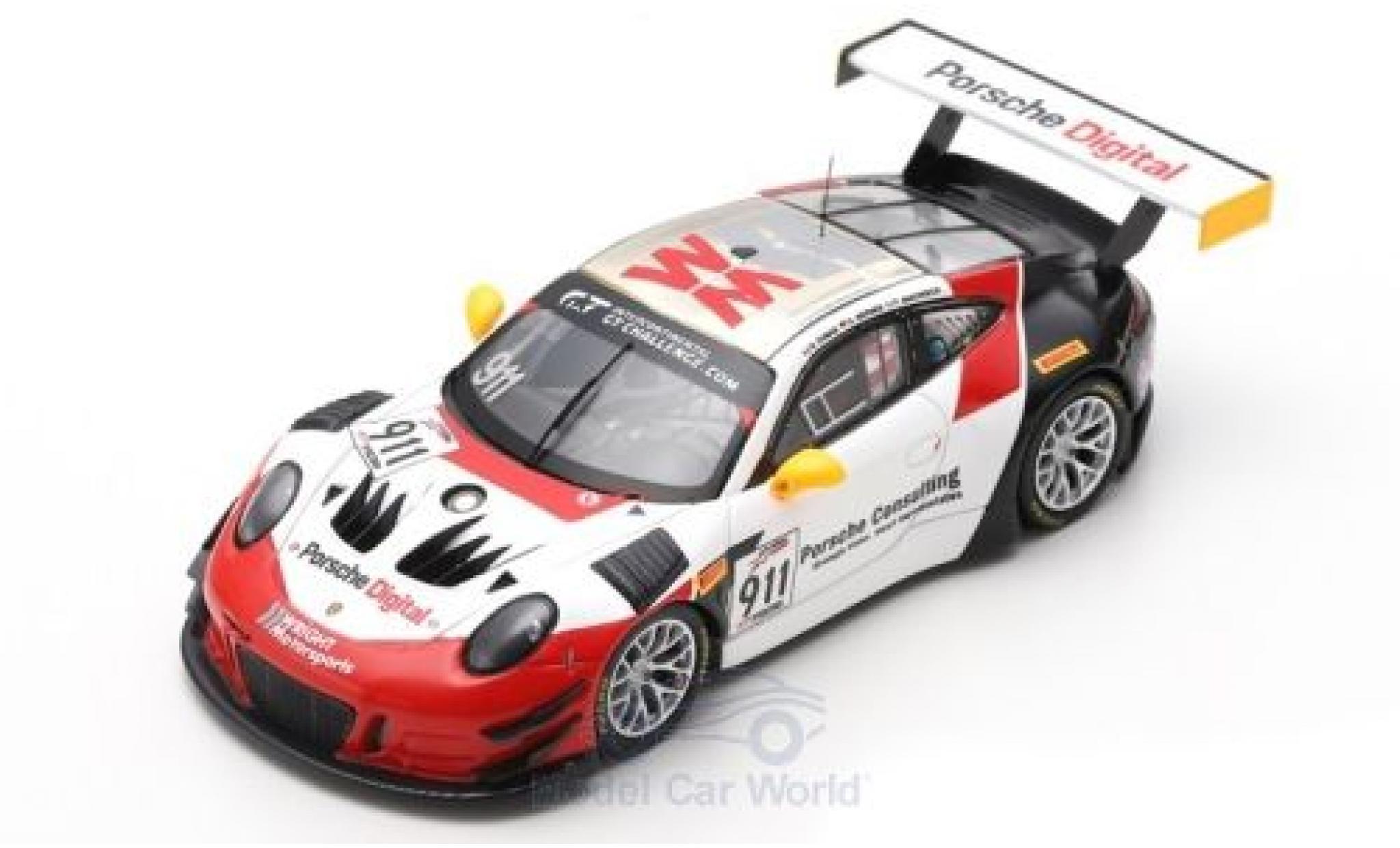 Porsche 911 1/43 Spark GT3 R No. Wright Motorsport 8h Kalifornien 2018 R. Dumas/F.Makowiecki/D.Werner