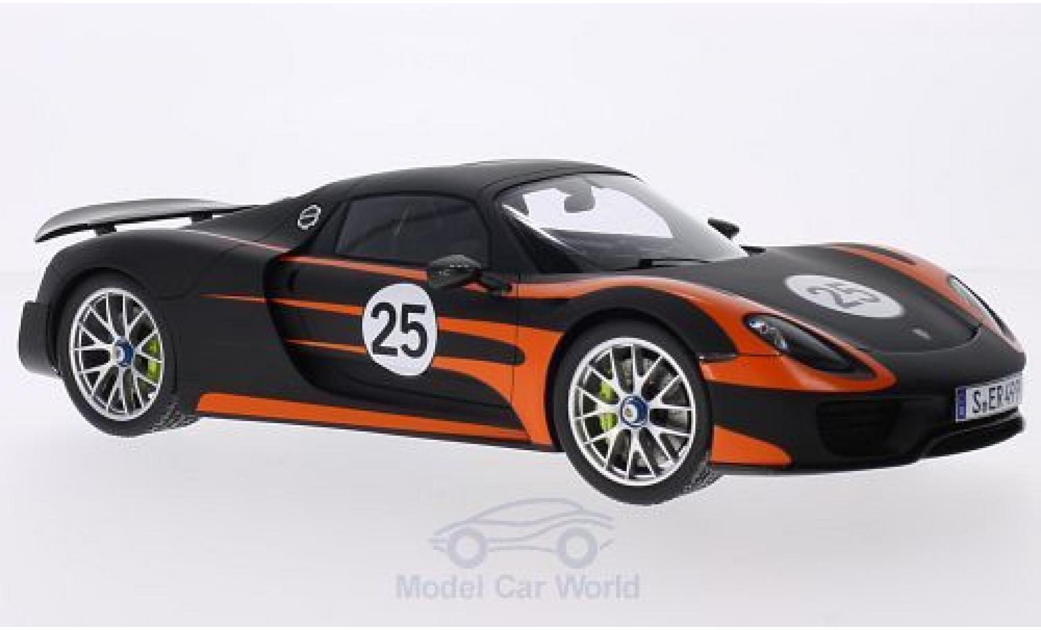 Porsche 918 1/18 Spark Spyder noire/orange Weissach-Paket